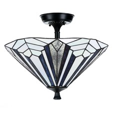 French Art Deco Tiffany Plafonnière Blue