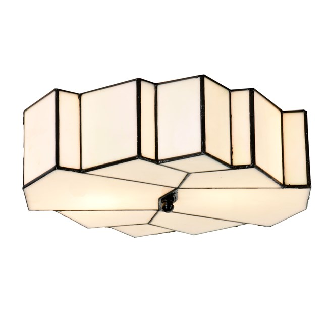French Art Deco Tiffany Plafonnière Glamour - Aan