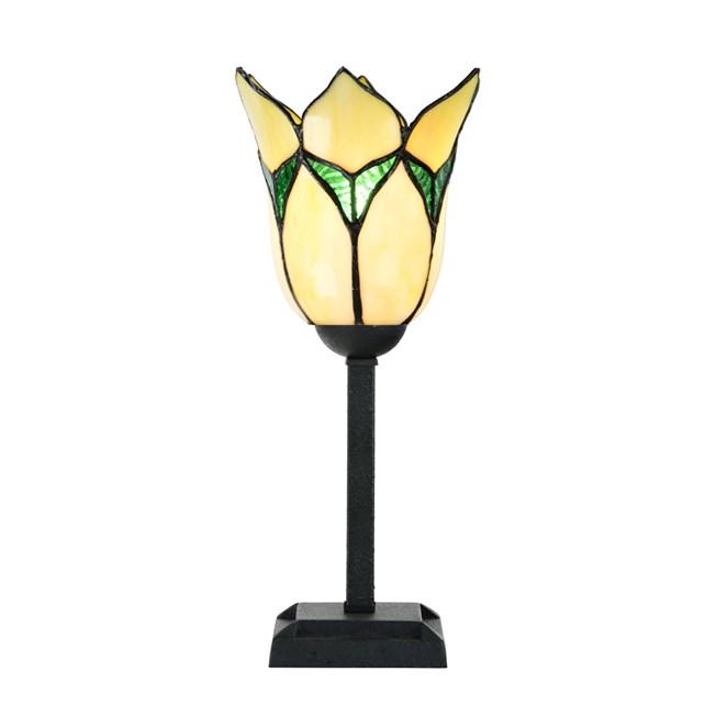 Tiffany Tafellamp Lovely Flower Yellow - Aan