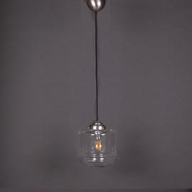 Hanglamp Linnen Vintage Snoer Getrapte Cilinder small Transparant